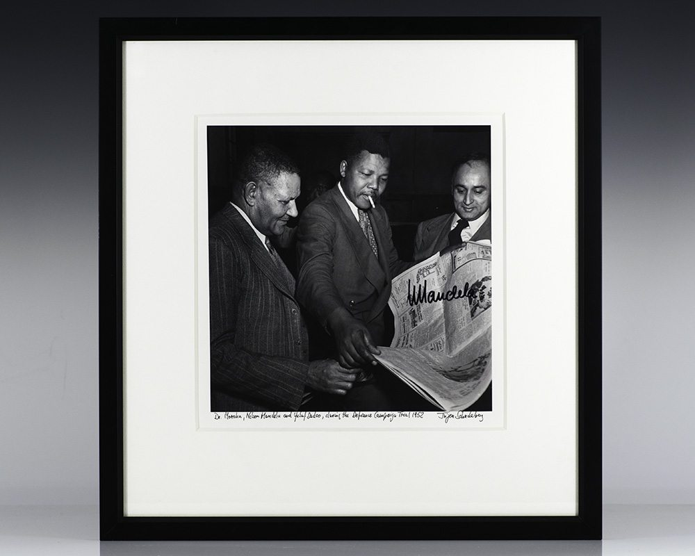 Silver Gelatin Print of Nelson Mandela and Yusuf Dadoo during the Defiance Campaign Trial of 1952; Signed by Mandela and photographer Jurgen Schadeberg