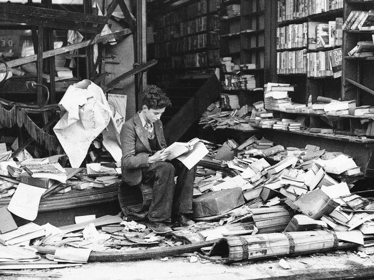 Little boy reading History of London