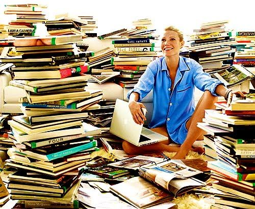 gwyneth reading books for vogue
