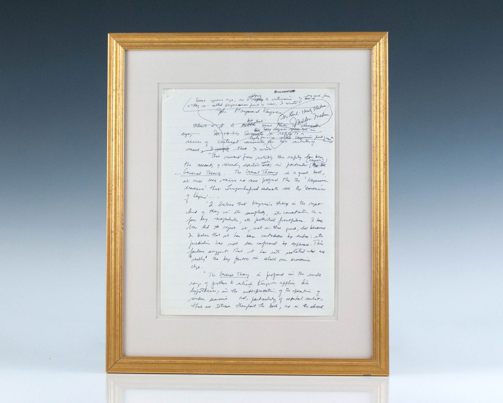 milton friedman j m keynes the general theory signed