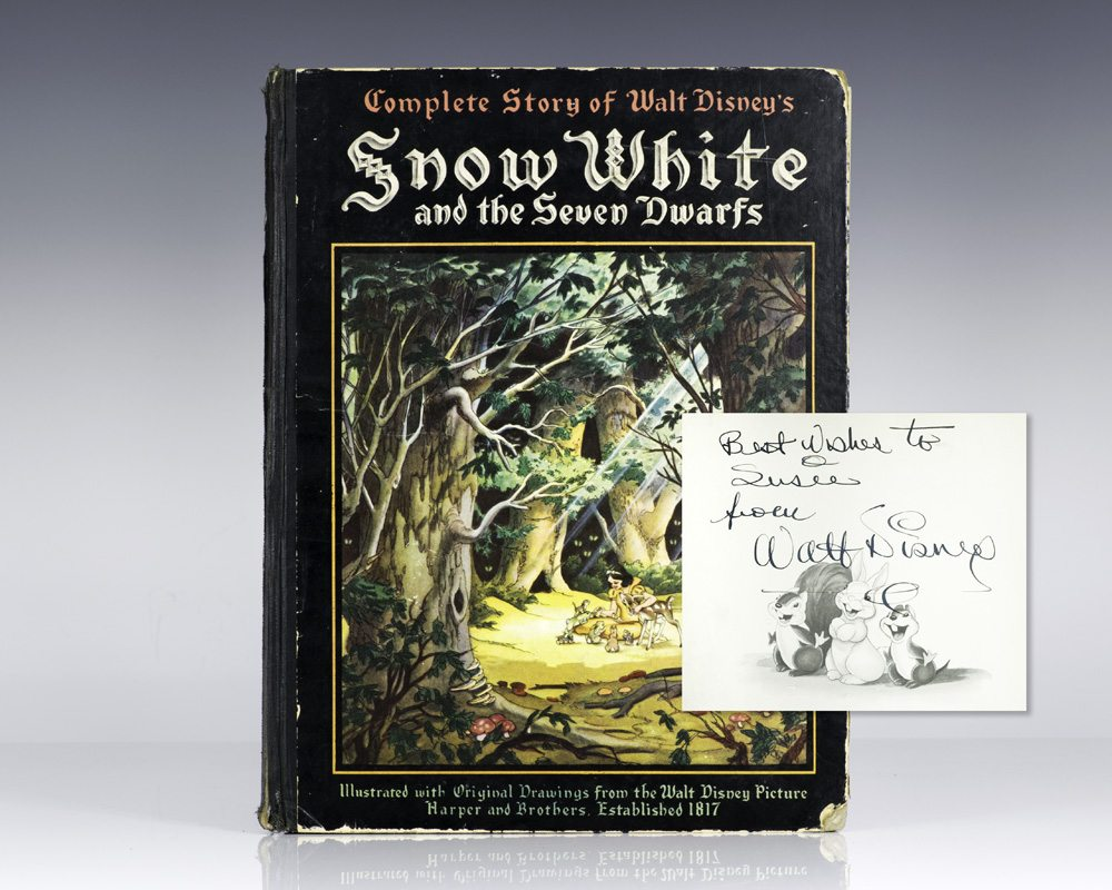 First edition of Walt Disney's Snow White and the Seven Dwarfs; inscribed by him