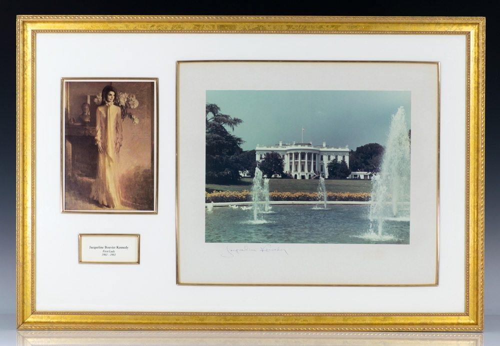 White House Photographic Print signed by Jacqueline Kennedy; matted and framed with a full-length portrait of the First Lady