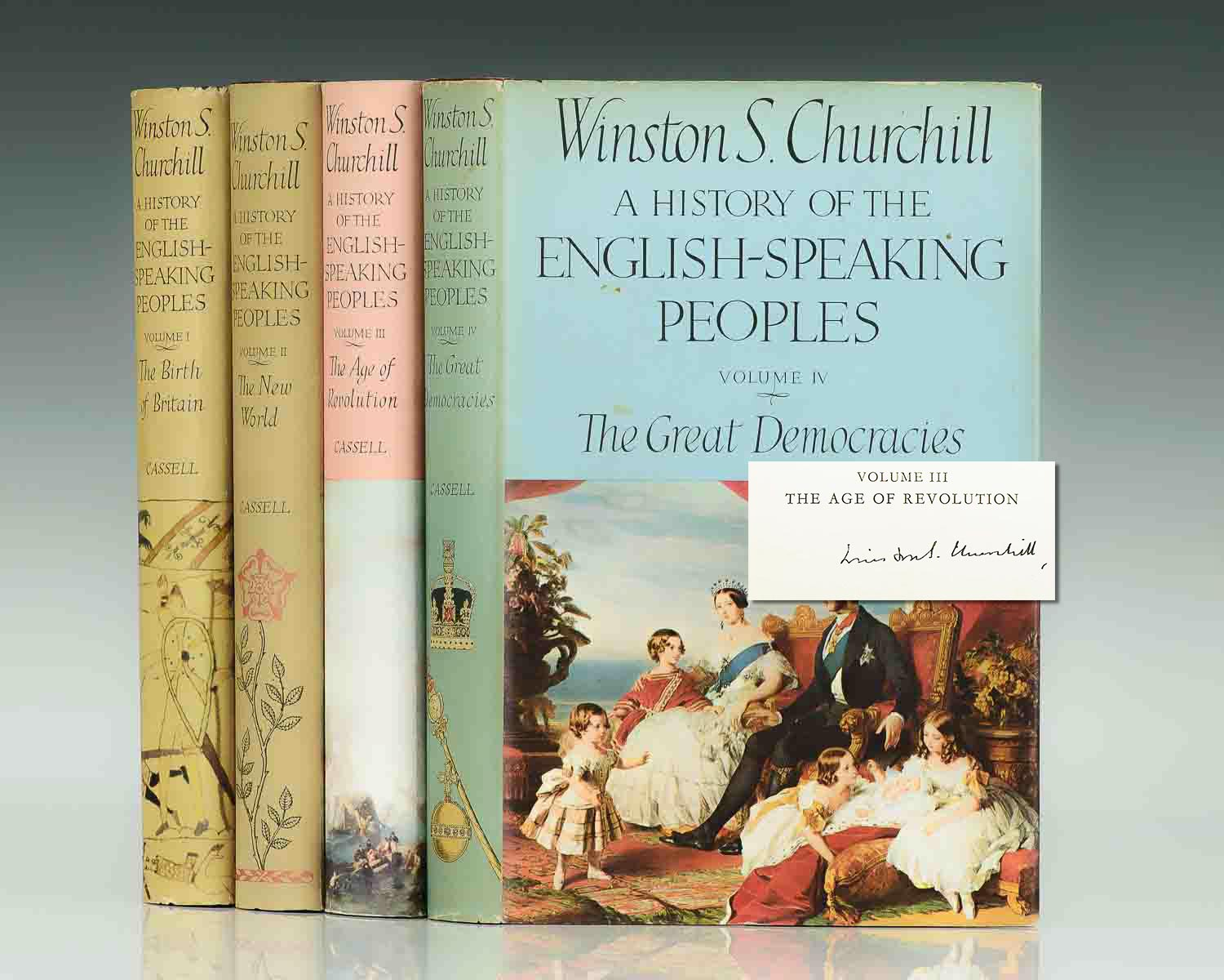 First British Editions of each volume of A History of the English-Speaking Peoples.; Signed by Winston S. Churchill