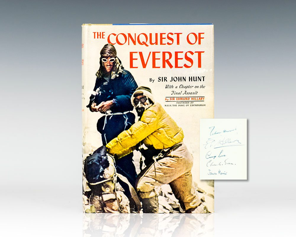 First Edition of Conquest of Everest; signed by John Hunt, Edmund Hillary, George Lowe, Charles Evans and James Morris