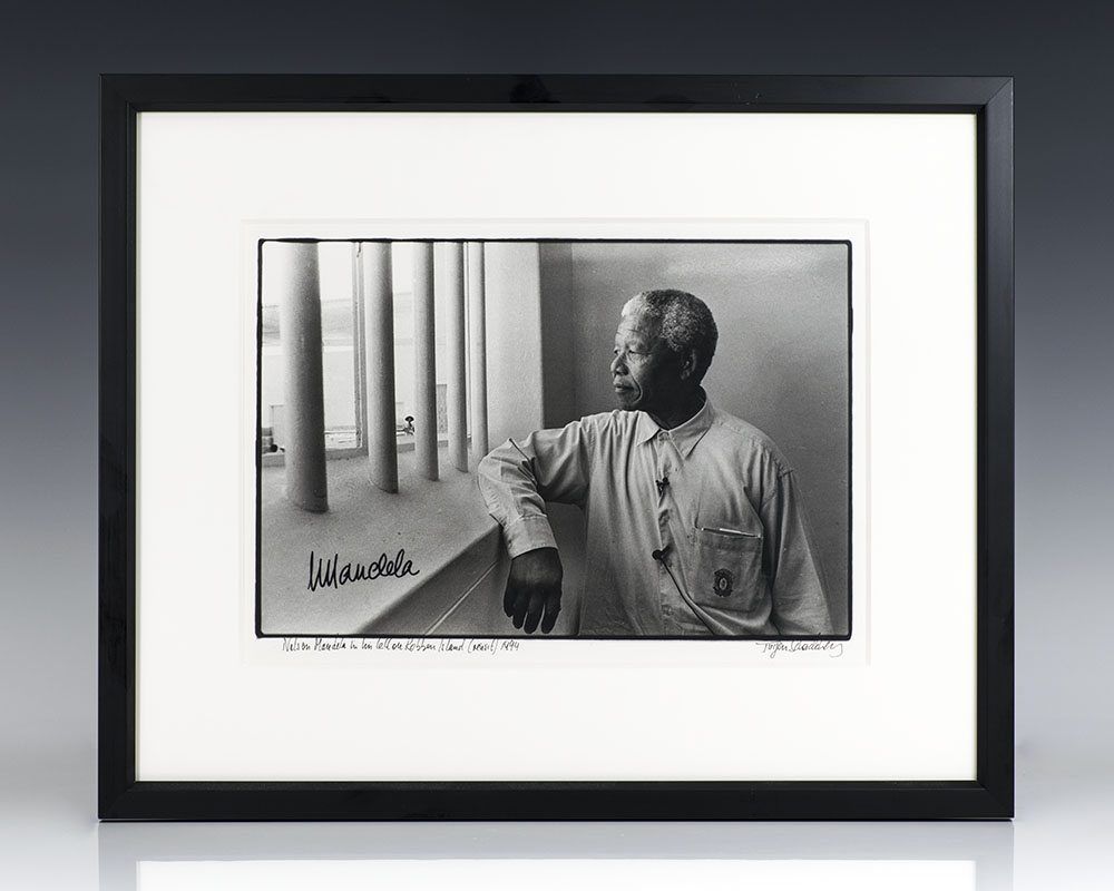 Silver Gelatin Print of Nelson Mandela at Robben Island; signed by Mandela and photographer Jurgen Schadeberg
