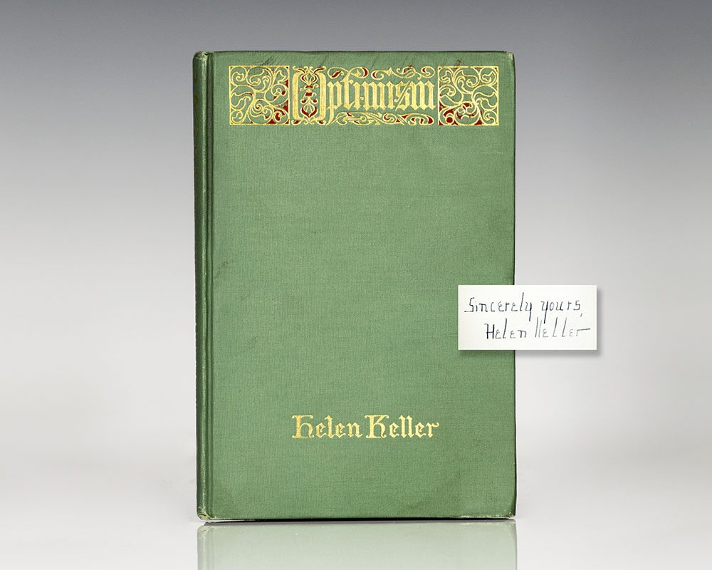 optimism helen keller first edition signed optimism an essay