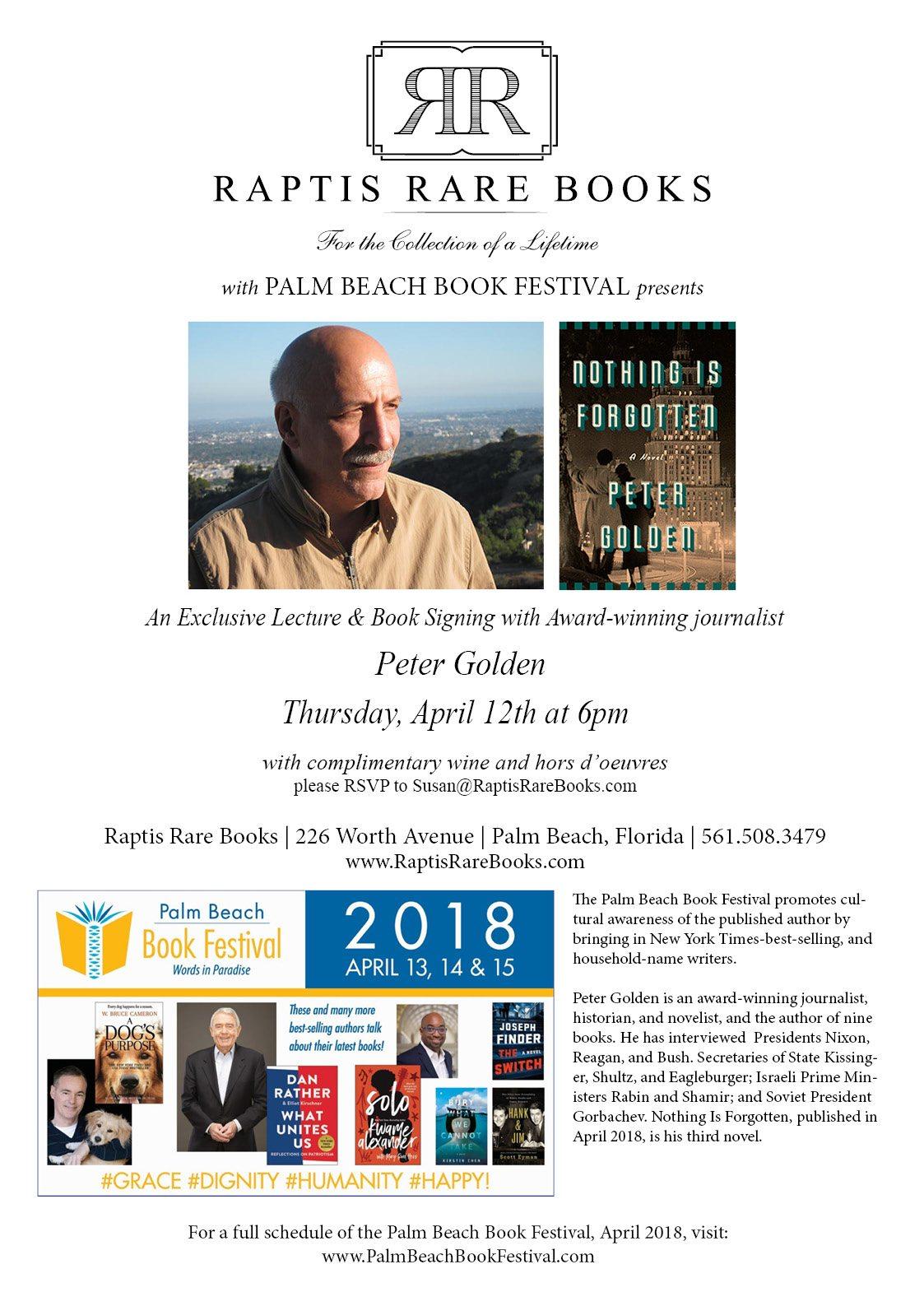 Peter Golden Raptis Rare Books Palm Beach Book Festival April 12 2018