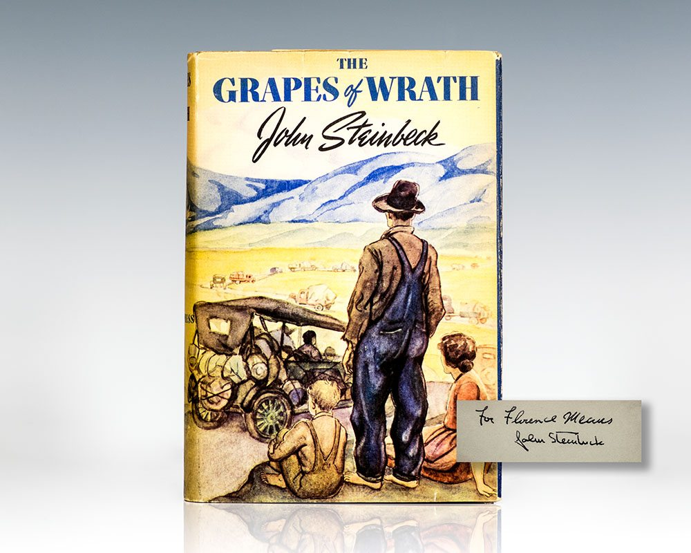 First Edition of John Steinbeck's The Grapes of Wrath; Inscribed by Him to a secretary at The Viking Press, Florence Means