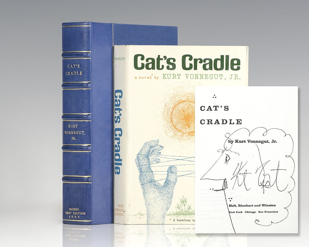 First edition of Kurt Vonnegut's Cat's Cradle; inscribed by him with a self-caricature.