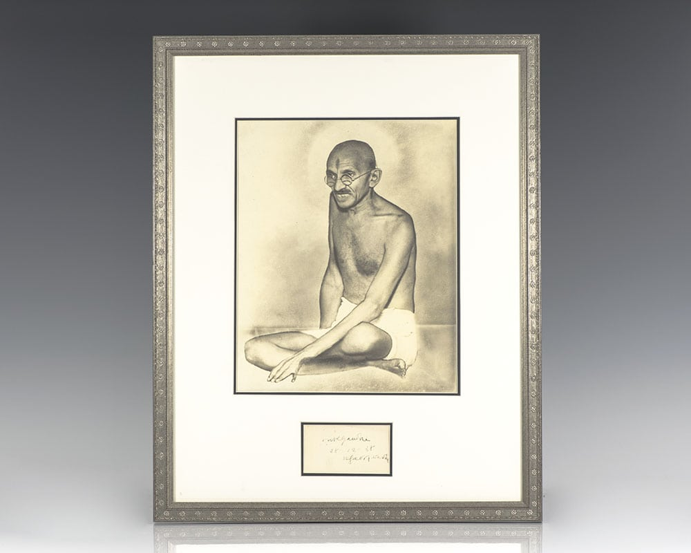 Rare Mohandas K. Gandhi autograph, signed at the height of the struggle for Indian Independence in 1938