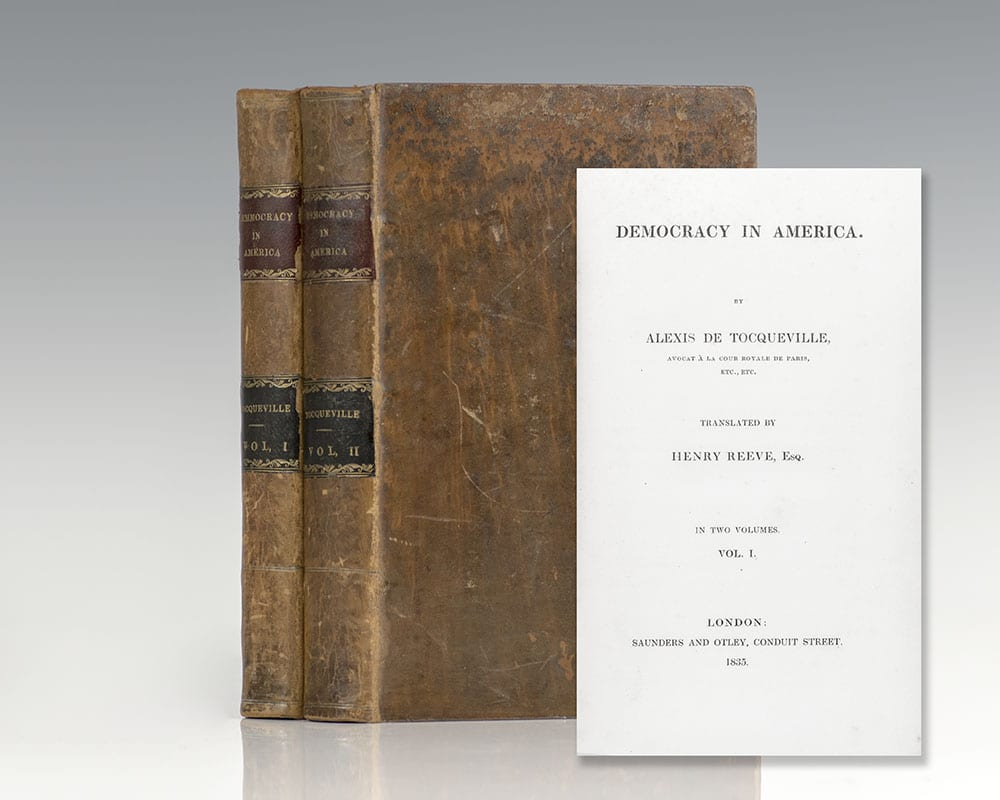 First Edition of Alexis de Tocqueville's Democracy in America