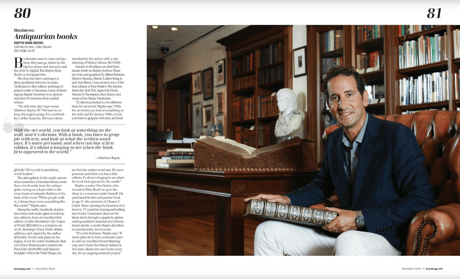 Boca Magazine Raptis Rare Books