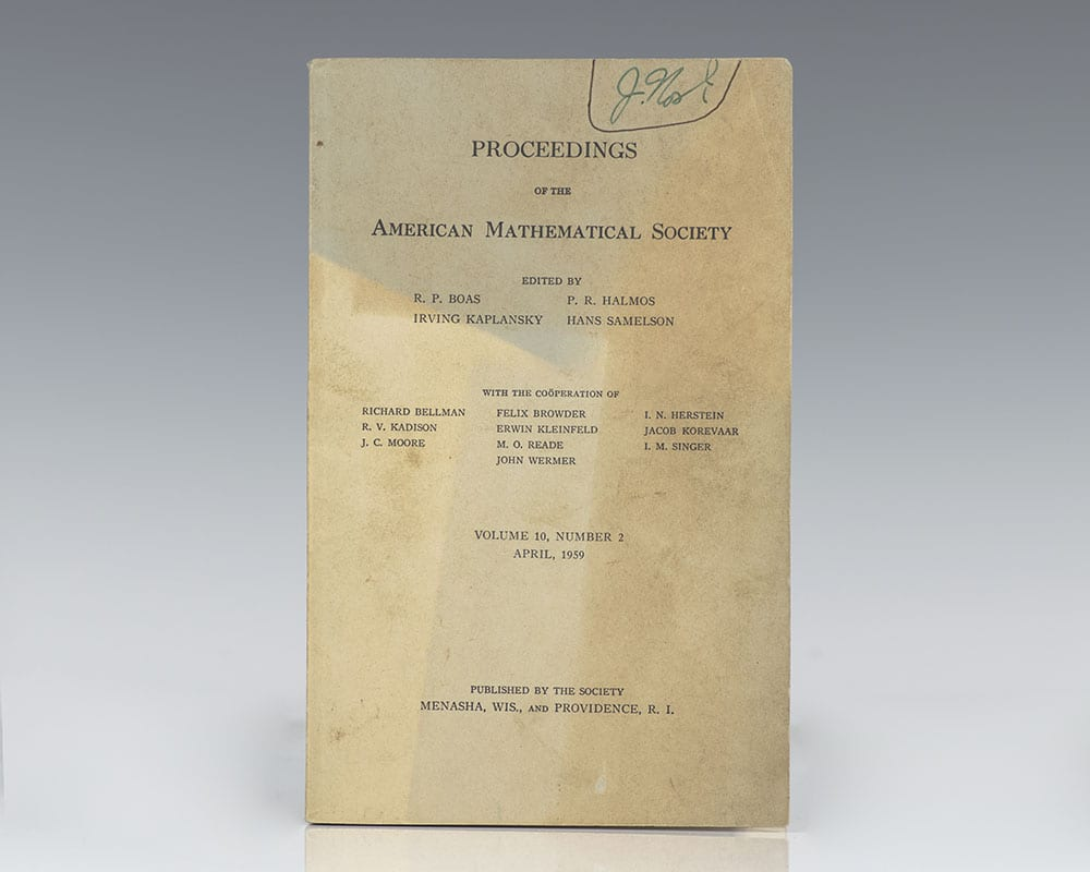Proceedings of the American Mathematical Society: April, 1959