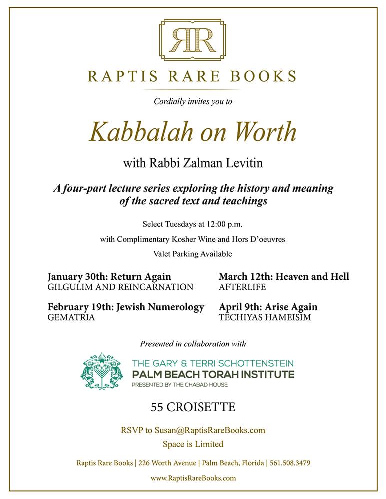 Kabbalah on Worth Raptis Rare Books