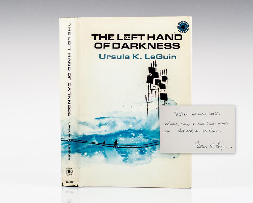 First Edition of Ursula Le Guin's Nebula and Hugo award-winning novel, The Left Hand of Darkness; inscribed by her.