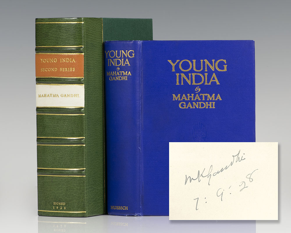 Second edition of Young India; signed and dated by Gandhi