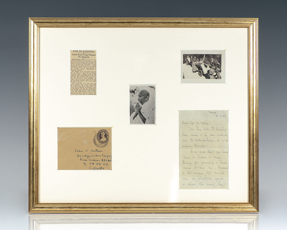 Rare signed photograph of Gandhi; with an autographed letter signed from Amrit Kaur, the secretary to Gandhi and later Health Minister of India