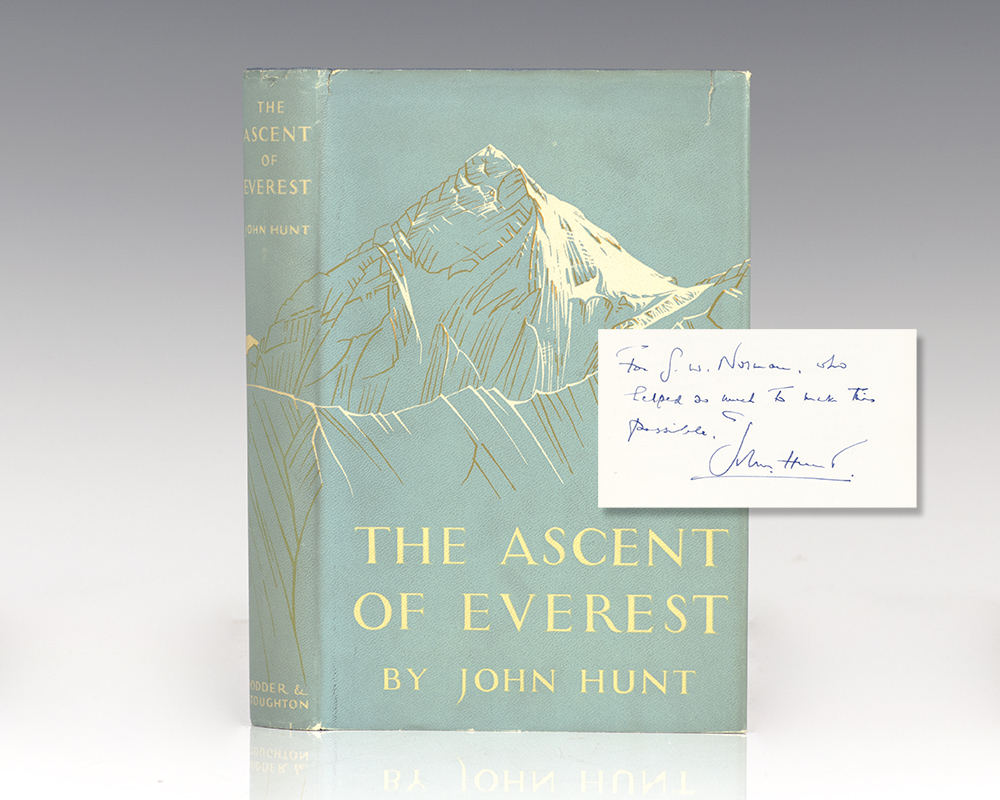 First edition of The Ascent of Everest; inscribed by Sir John Hunt