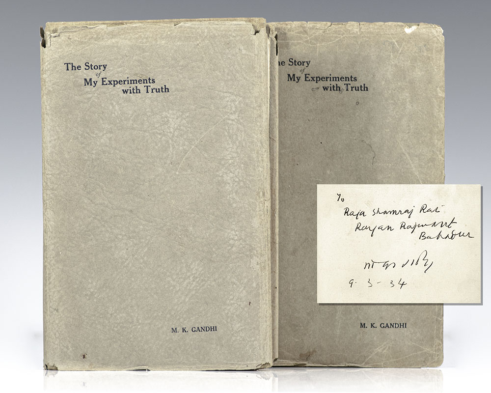 First editions of Gandhi's fundamental autobiography; inscribed by him to Raja Shamraj Rajwant Bahadur who assembled India's greatest library