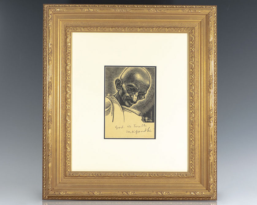 Rare engraving of one of the most famous graphic images of Gandhi by illustrator Fritz Eichenberg; signed and inscribed by Ghandi and signed by Eichenberg
